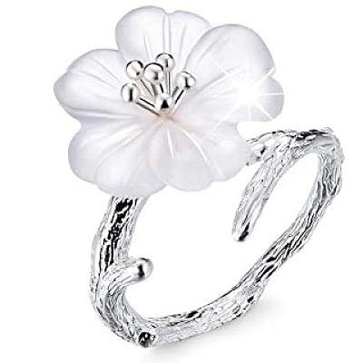 anillo flor plata