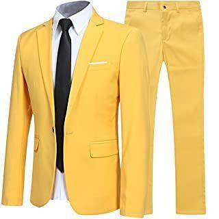 Traje de 2 piezas para hombre amarillo